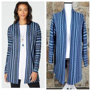 J Jill XL Extended Length Knit Open Front Cardigan
